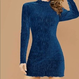 NEW Boutique! Mock Neck Lettuce Trim Velvet Dress